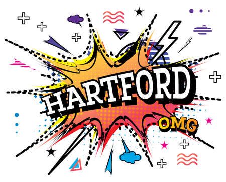 Hartford Comic Text in Pop Art Style Isolated on White Background. Vector Illustration.