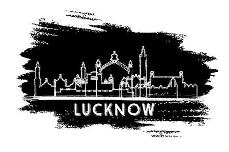 Lucknow India City Skyline Silhouette. Hand Drawn Sketch. Business Travel and Tourism Concept with Historic Architecture. Vector Illustration. Lucknow Cityscape with Landmarks. 向量圖像