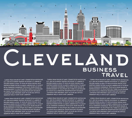 Cleveland Ohio City Skyline with Color Buildings, Blue Sky and Copy Space. Vector Illustration. Cleveland USA Cityscape with Landmarks. Business Travel and Tourism Concept with Modern Architecture.
