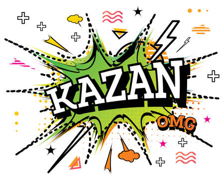 Kazan Comic Text in Pop Art Style Isolated on White Background. Vector Illustration.
