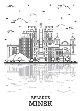 Outline Minsk Belarus City Skyline with Modern Buildings and Reflections Isolated on White. Vector Illustration. Minsk Cityscape with Landmarks.