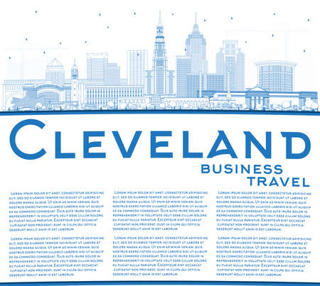 Outline Cleveland Ohio City Skyline with Blue Buildings and Copy Space. Vector Illustration. Cleveland USA Cityscape with Landmarks. Business Travel and Tourism Concept with Modern Architecture. 向量圖像