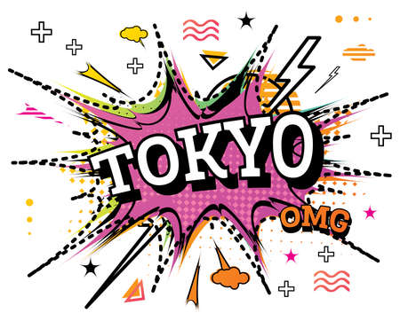 Tokyo Comic Text in Pop Art Style Isolated on White Background. Vector Illustration. 向量圖像