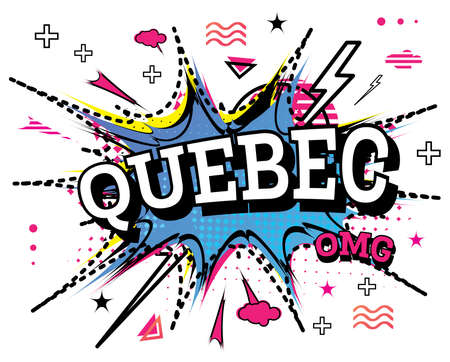 Quebec Comic Text in Pop Art Style Isolated on White Background. Vector Illustration. 向量圖像