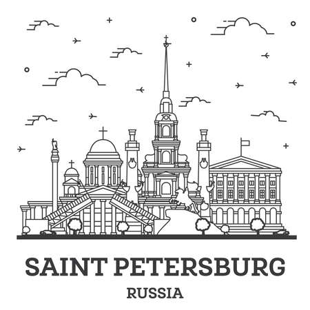 Outline Saint Petersburg Russia City Skyline with Historic Buildings Isolated on White. Vector Illustration. Saint Petersburg Cityscape with Landmarks. 向量圖像
