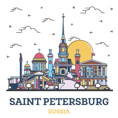 Outline Saint Petersburg Russia City Skyline with Colored Historic Buildings Isolated on White. Vector Illustration. Saint Petersburg Cityscape with Landmarks.