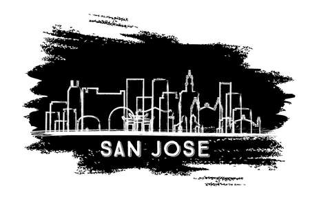 San Jose California USA City Skyline Silhouette. Hand Drawn Sketch. Business Travel and Tourism Concept with Modern Architecture. Vector Illustration. San Jose Cityscape with Landmarks. 向量圖像