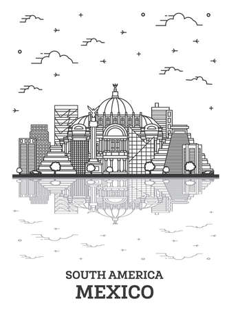 Outline Mexico City Skyline with Historical Buildings and Reflections Isolated on White. Vector Illustration. Mexico Cityscape with Landmarks. 向量圖像