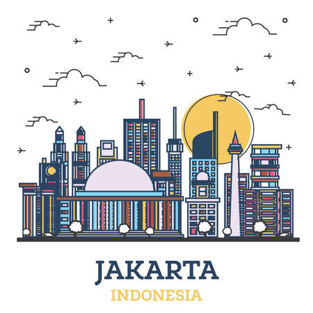 Outline Jakarta Indonesia City Skyline with Colored Modern Buildings Isolated on White. Vector Illustration. Jakarta Cityscape with Landmarks.
