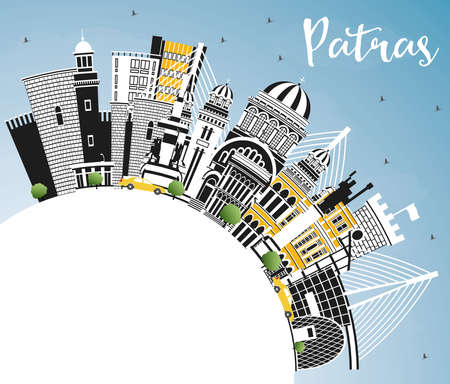 Patras Greece City Skyline with Color Buildings, Blue Sky and Copy Space. Vector Illustration. Travel and Tourism Concept with Historic and Modern Architecture. Patras Cityscape with Landmarks.