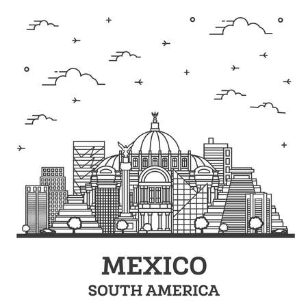 Outline Mexico City Skyline with Historical Buildings Isolated on White. Vector Illustration. Mexico Cityscape with Landmarks. 向量圖像