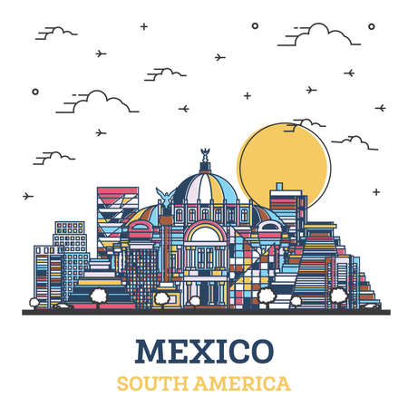 Outline Mexico City Skyline with Colored Historic Buildings Isolated on White. Vector Illustration. Mexico Cityscape with Landmarks.