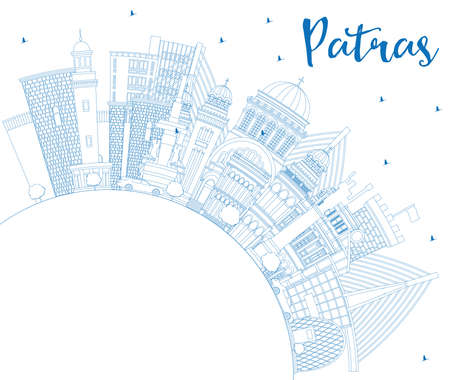Outline Patras Greece City Skyline with Blue Buildings and Copy Space. Vector Illustration. Travel and Tourism Concept with Historic and Modern Architecture. Patras Cityscape with Landmarks.
