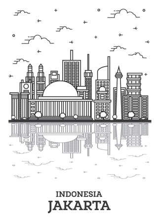 Outline Jakarta Indonesia City Skyline with Modern Buildings and Reflections Isolated on White. Vector Illustration. Jakarta Cityscape with Landmarks. 向量圖像