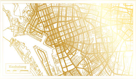Kaohsiung Taiwan City Map in Retro Style in Golden Color. Outline Map. Vector Illustration. 向量圖像