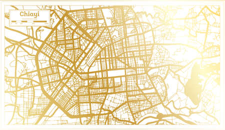 Chiayi Taiwan City Map in Retro Style in Golden Color. Outline Map. Vector Illustration. 向量圖像