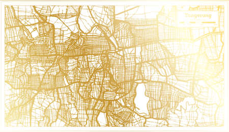 Tangerang Indonesia City Map in Retro Style in Golden Color. Outline Map. Vector Illustration.