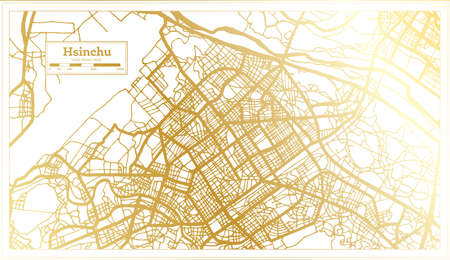 Hsinchu Taiwan City Map in Retro Style in Golden Color. Outline Map. Vector Illustration.
