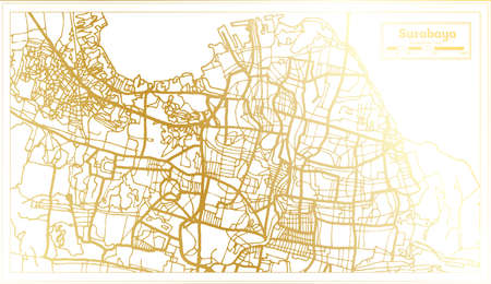 Surabaya Indonesia City Map in Retro Style in Golden Color. Outline Map. Vector Illustration. 向量圖像