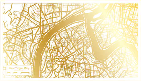 New Taipei City Taiwan City Map in Retro Style in Golden Color. Outline Map. Vector Illustration. 向量圖像
