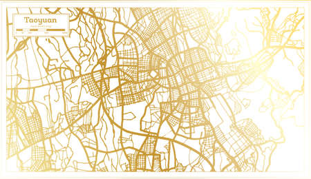 Taoyuan Taiwan City Map in Retro Style in Golden Color. Outline Map. Vector Illustration.