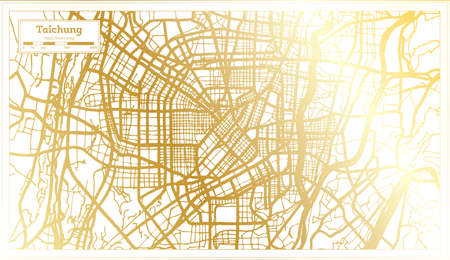 Taichung Taiwan City Map in Retro Style in Golden Color. Outline Map. Vector Illustration. 向量圖像