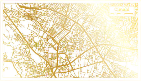 Cimahi Indonesia City Map in Retro Style in Golden Color. Outline Map. Vector Illustration.