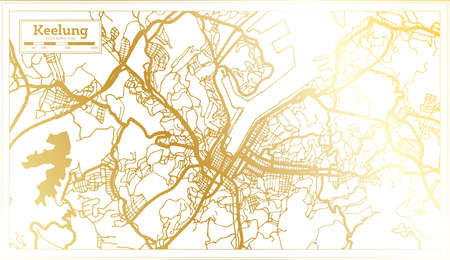 Keelung Taiwan City Map in Retro Style in Golden Color. Outline Map. Vector Illustration. 向量圖像