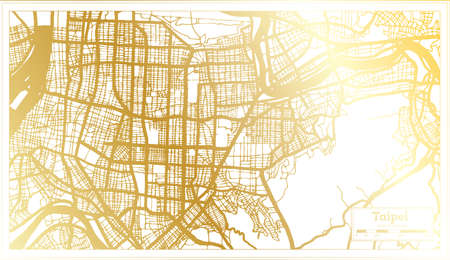 Taipei Taiwan City Map in Retro Style in Golden Color. Outline Map. Vector Illustration.