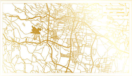 Tasikmalaya Indonesia City Map in Retro Style in Golden Color. Outline Map. Vector Illustration.
