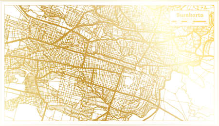 Surakarta Indonesia City Map in Retro Style in Golden Color. Outline Map. Vector Illustration. 向量圖像