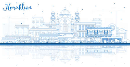 Outline Heraklion Greece Crete City Skyline with Blue Buildings and Reflections. Vector Illustration. Tourism Concept with Historic and Modern Architecture. Heraklion Cityscape with Landmarks.
