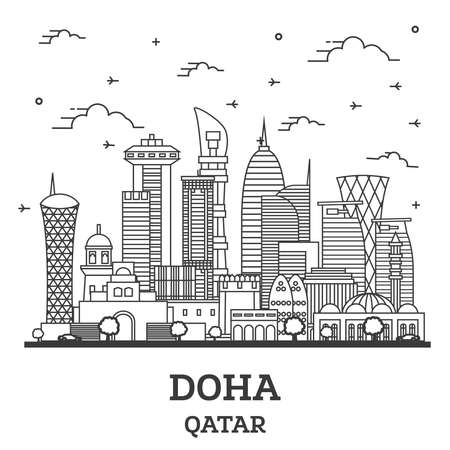 Outline Doha Qatar City Skyline with Modern Buildings Isolated on White. Vector Illustration. Doha Cityscape with Landmarks.