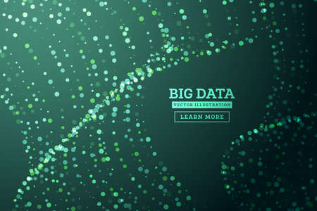 Big Data Concept. Abstract Background. Wave of Dots and Weave Lines. Network Connection Structure. Vector Illustration. 向量圖像
