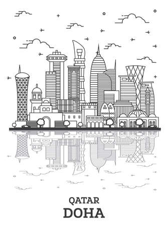 Outline Doha Qatar City Skyline with Modern Buildings and Reflections Isolated on White. Vector Illustration. Doha Cityscape with Landmarks.