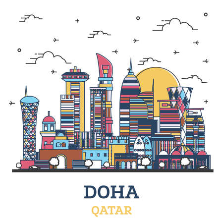 Outline Doha Qatar City Skyline with Colored Modern Buildings Isolated on White. Vector Illustration. Doha Cityscape with Landmarks. 向量圖像