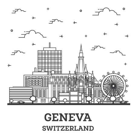 Outline Geneva Switzerland City Skyline with Modern Buildings Isolated on White. Vector Illustration. Geneva Cityscape with Landmarks.