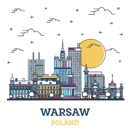 Outline Warsaw Poland City Skyline with Colored Modern Buildings Isolated on White. Vector Illustration. Warsaw Cityscape with Landmarks.