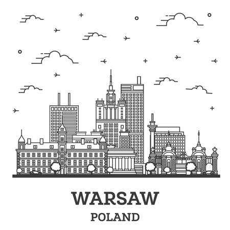 Outline Warsaw Poland City Skyline with Modern Buildings Isolated on White. Vector Illustration. Warsaw Cityscape with Landmarks.