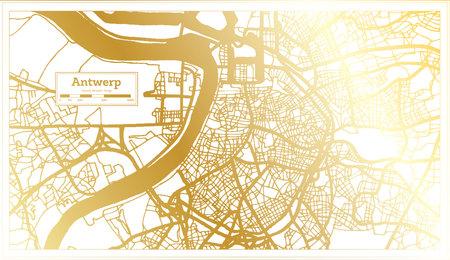 Antwerp Belgium City Map in Retro Style in Golden Color. Outline Map. Vector Illustration.