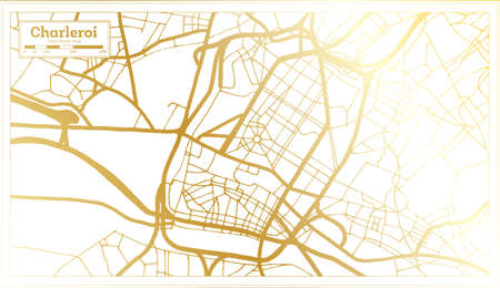 Charleroi Belgium City Map in Retro Style in Golden Color. Outline Map. Vector Illustration.