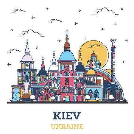 Outline Kiev Ukraine City Skyline with Colored Historic Buildings Isolated on White. Vector illustration. Kiev Cityscape with Landmarks. 向量圖像