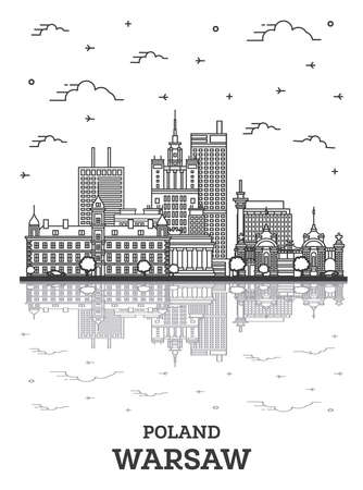 Outline Warsaw Poland City Skyline with Modern Buildings and Reflections Isolated on White. Vector Illustration. Warsaw Cityscape with Landmarks. 向量圖像