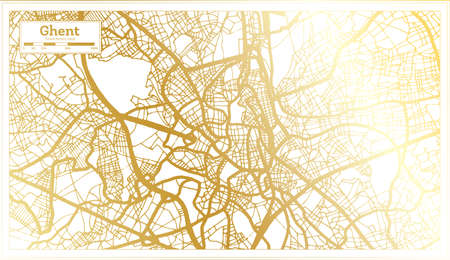 Ghent Belgium City Map in Retro Style in Golden Color. Outline Map. Vector Illustration.