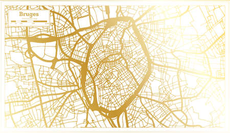 Bruges Belgium City Map in Retro Style in Golden Color. Outline Map. Vector Illustration.