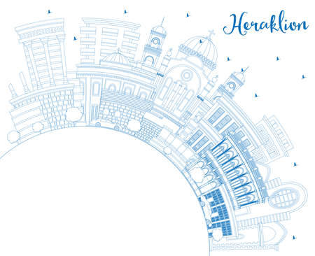 Outline Heraklion Greece Crete City Skyline with Blue Buildings and Copy Space. Vector Illustration. Historic and Modern Architecture. Heraklion Cityscape with Landmarks.
