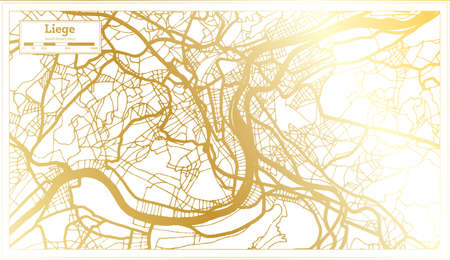 Liege Belgium City Map in Retro Style in Golden Color. Outline Map. Vector Illustration.