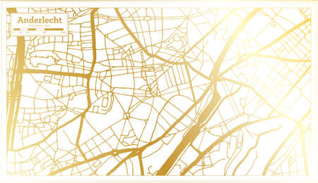 Anderlecht Belgium City Map in Retro Style in Golden Color. Outline Map. Vector Illustration. 向量圖像