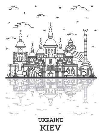 Outline Kiev Ukraine City Skyline with Historic Buildings and Reflections Isolated on White. Vector illustration. Kiev Cityscape with Landmarks.