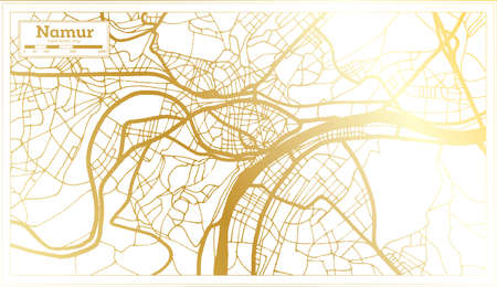 Namur Belgium City Map in Retro Style in Golden Color. Outline Map. Vector Illustration. 向量圖像